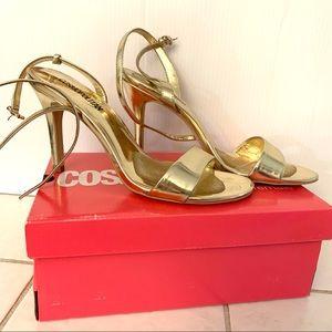 Cosmopolitan Ankle Strap Heels Gold Size 10